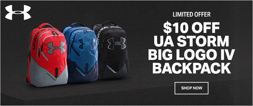 LIMITED OFFER; $10 OFF UA STORM BIG LOGO IV BACKPACK; SHOP NOW;
